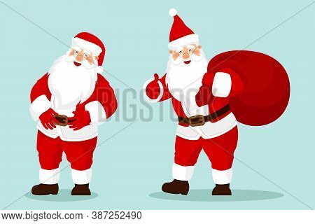 Santa Claus Set. Cartoon Holiday Moving Characters. Red Santa Hat. For Christmas And New Year Poster