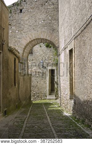 Medieval Street Of The Famous Village Of Erice, Sicily, Italy