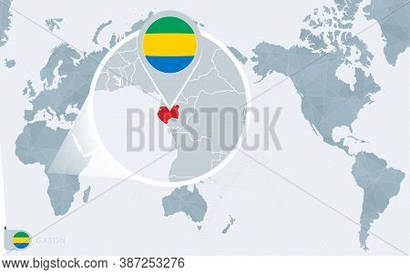 Pacific Centered World Map With Magnified Gabon. Flag And Map Of Gabon On Asia In Center World Map.