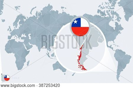 Pacific Centered World Map With Magnified Chile. Flag And Map Of Chile On Asia In Center World Map.
