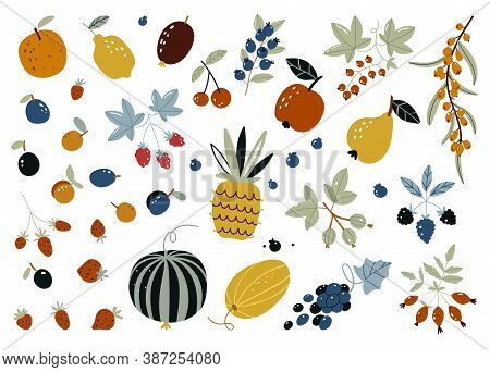 Autumn Harvest Of Fruits, Berries And Vegetables In Flat Style Isolated On White Background. Cute Fr