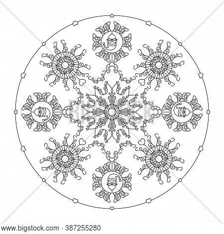 Christmas Mandala. Santa Head, Fancy Snowflakes And Little Hearts. Christmas Coloring Page. Vector I