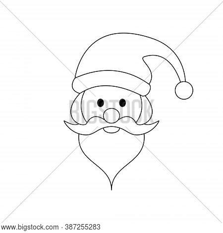 Santa Head. Christmas Theme. Black And White. Vector Illustration.