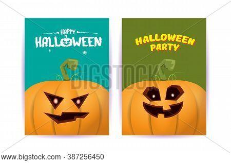 Halloween Vertical Cartoon Posters Set With Halloween Scary Pumpkins . Funky Kids Halloween Backgrou