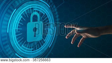 Safety And Cyber Security Concept. Illustration Of Hand Reaching Closed Padlock With Keyhole Icon On