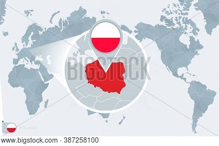 Pacific Centered World Map With Magnified Poland. Flag And Map Of Poland On Asia In Center World Map