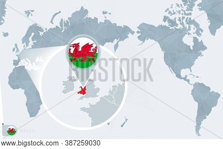 Pacific Centered World Map With Magnified Wales. Flag And Map Of Wales On Asia In Center World Map.
