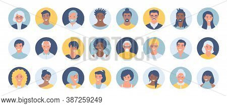 Set Of Persons, Avatars, People Heads Of Different Ethnicity And Age In Flat Style. Multi Nationalit