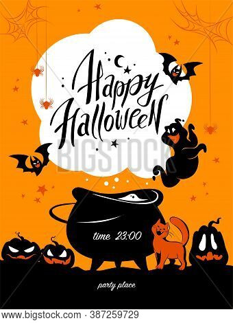 Halloween Party Flayer, Poster ,card, Design Template. Vector Flat Cartoon Style Illustration. Black