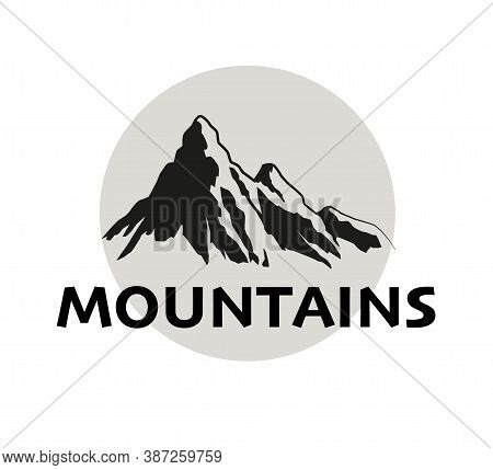 Travel Logo Design With Mountain Shapes Silhouette Isolated On White Background. Flat Vector Illustr
