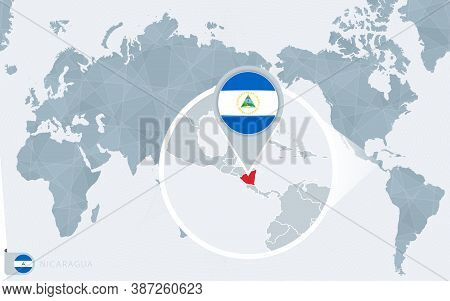 Pacific Centered World Map With Magnified Nicaragua. Flag And Map Of Nicaragua On Asia In Center Wor