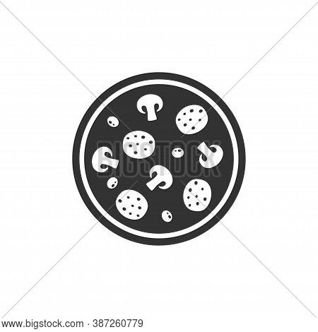 Round Pizza Simple Vector Icon. Black Pizza Symbol With Salami, Olives And Mushrooms.
