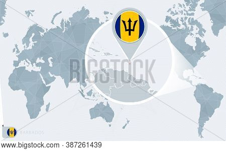 Pacific Centered World Map With Magnified Barbados. Flag And Map Of Barbados On Asia In Center World