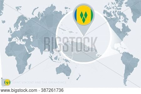 Pacific Centered World Map With Magnified Saint Vincent And The Grenadines. Flag And Map Of Saint Vi