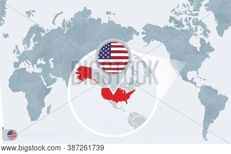 Pacific Centered World Map With Magnified Usa. Flag And Map Of Usa On Asia In Center World Map.