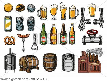 Vintage Beer Elements Colorful Set With Bottles Glasses Cups Mugs Caps Aluminum Cans Taps Sausage On
