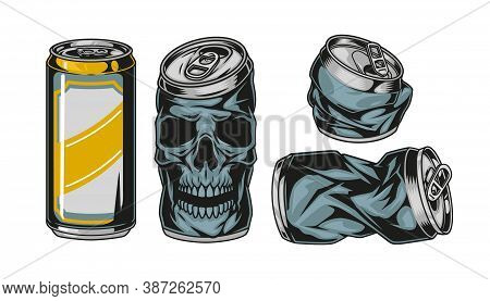 Colorful Beer Aluminum Cans Set With Crumpled Package And Can In Shape Of Skull In Vintage Style Iso