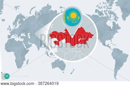 Pacific Centered World Map With Magnified Kazakhstan. Flag And Map Of Kazakhstan On Asia In Center W