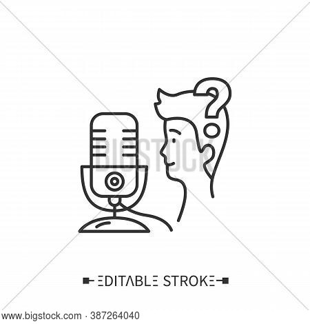 Broadcasting Skills Line Icon. Storytelling Skills. Appeal, Contact To Listener. Internet Digital Re