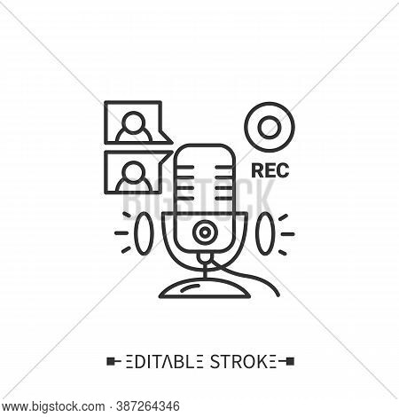 Remote Recording Guests, Co-hosts Line Icon. Collaboration In Podcast. Video Conference Call Using.