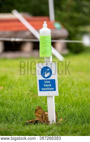 Hand Sanitiser At An Outdoor Horse Trials Event As Autumn Approaches During Covid 19 Pandemic. Horse