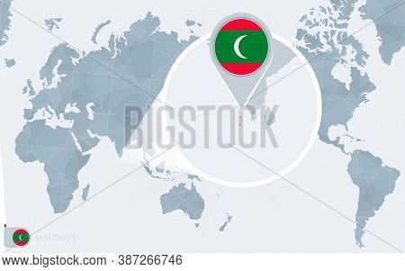 Pacific Centered World Map With Magnified Maldives. Flag And Map Of Maldives On Asia In Center World