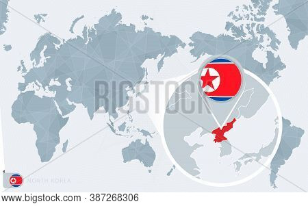Pacific Centered World Map With Magnified North Korea. Flag And Map Of North Korea On Asia In Center