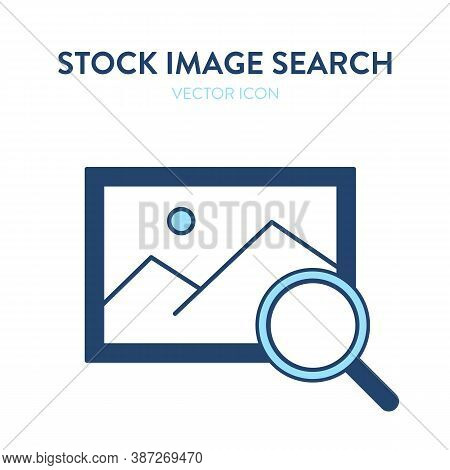 Image Search Icon. Vector Illustration Of Stock Photo Symbol With Magnifier Tool. Represents Concept