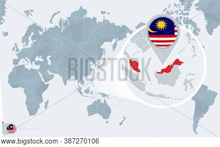 Pacific Centered World Map With Magnified Malaysia. Flag And Map Of Malaysia On Asia In Center World