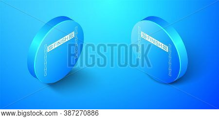 Isometric Ribbon In Finishing Line Icon Isolated On Blue Background. Symbol Of Finish Line. Sport Sy