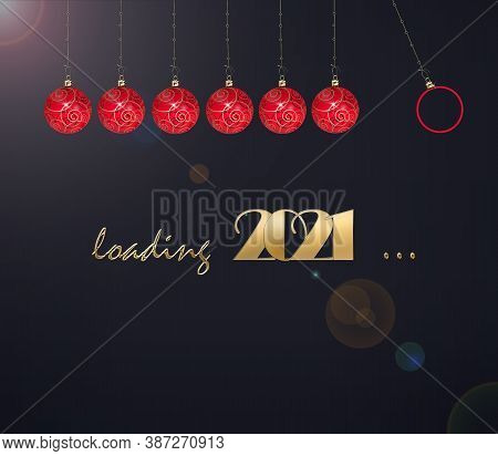 Loading New Year Festive Card. Progress Bar Of Red Balls, Gold Digit 2021, Text Loading 2021 On Dark