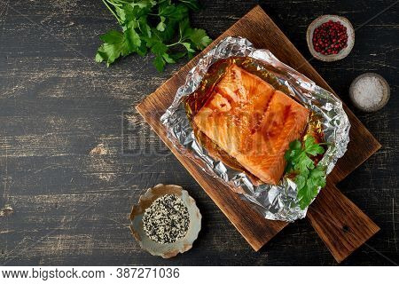 Foil Pack Dinner With Fish. Fillet Of Salmon. Healthy Diet Food, Keto Diet