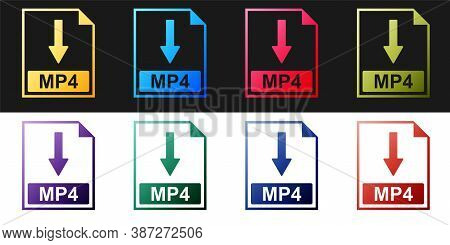 Set Mp4 File Document Icon. Download Mp4 Button Icon Isolated On Black And White Background. Vector