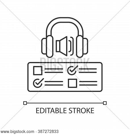 Listening Examination Pixel Perfect Linear Icon. Comprehension Practice Tests. Education. Thin Line