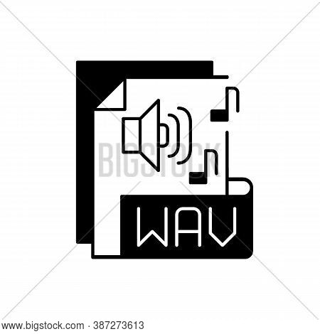 Wav File Black Linear Icon. Waveform Audio File Format. Storing Data In Segments. Uncompressed Lossl
