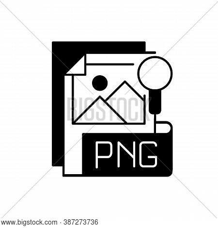 Png File Black Linear Icon. Portable Graphics Format. Palette-based, Grayscale Images Support. Lossl