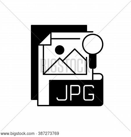 Jpg File Black Linear Icon. Compressed Image Format. Digital Images. Jpeg. Lossless Coding Mode. Sta