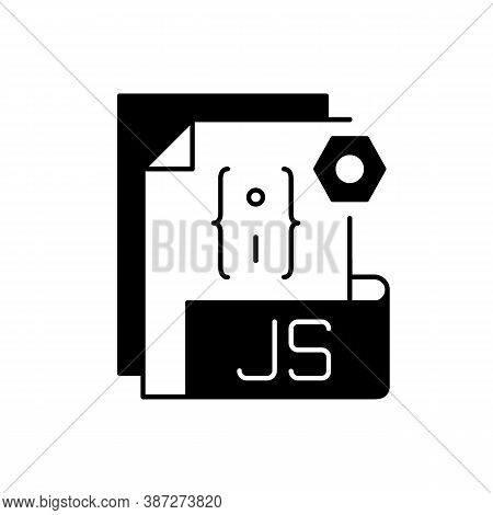 Js File Black Linear Icon. Source Code File Format. Websites Creation And Development. Programming L