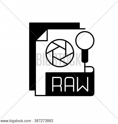 Raw File Black Linear Icon. Camera Raw Image File. File Extension. Uncompressed Images. Digital Came