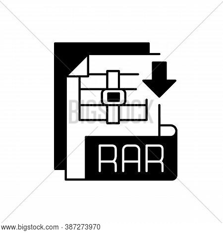 Rar File Black Linear Icon. Archive File Format. Data Compression. Error Recovery. File Spanning. Ar