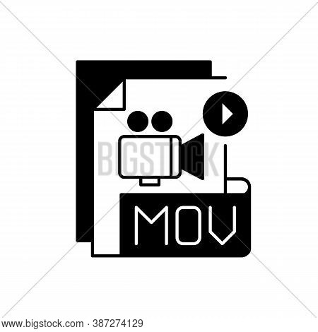 Mov File Black Linear Icon. Mpeg-4 Multimedia Container File Format. Videoplayer. Video And Audio Da