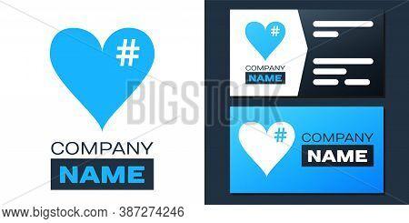 Logotype The Hash Love Icon. Hashtag Heart Symbol Icon Isolated On White Background. Logo Design Tem