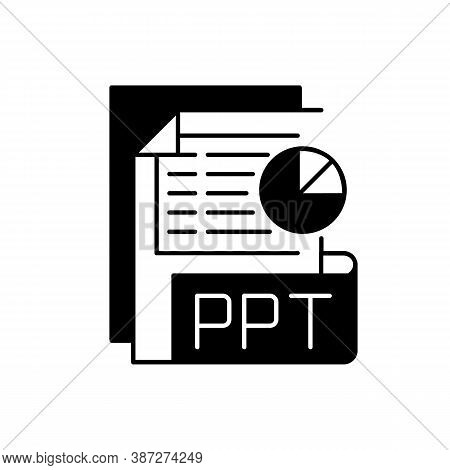 Ppt File Black Linear Icon. Slideshow Presentation. File Extension. Pptx Documents. Presentation For