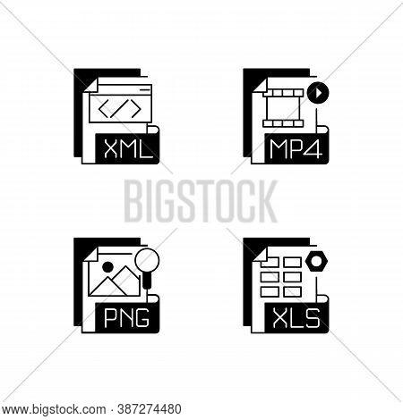 File Types Black Linear Icons Set. Xml. Mp4. Png. Xls. Spreadsheet, Data, Video, Raster Image Files.
