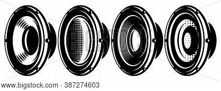 A Set Of Different Speakers. Monochrome Vector Illustration. Elements For Design.