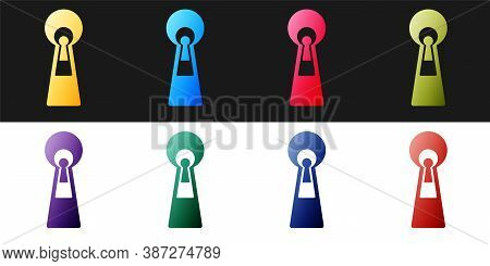 Set Keyhole Icon Isolated On Black And White Background. Key Of Success Solution. Keyhole Express Th