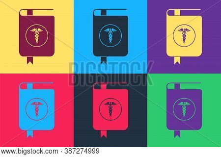 Pop Art Medical Book And Caduceus Medical Icon Isolated On Color Background. Medical Reference Book,