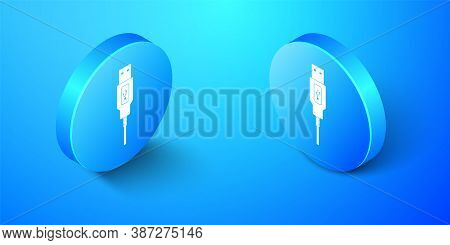 Isometric Usb Cable Cord Icon Isolated On Blue Background. Connectors And Sockets For Pc And Mobile