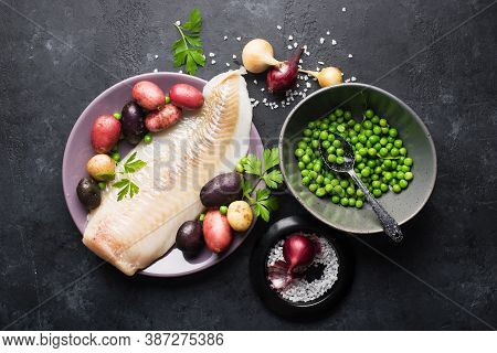 Cod White Fish Potatoes Dish Ingredients For Healthy Comfortable Home Food. Raw White Fish Fillet In