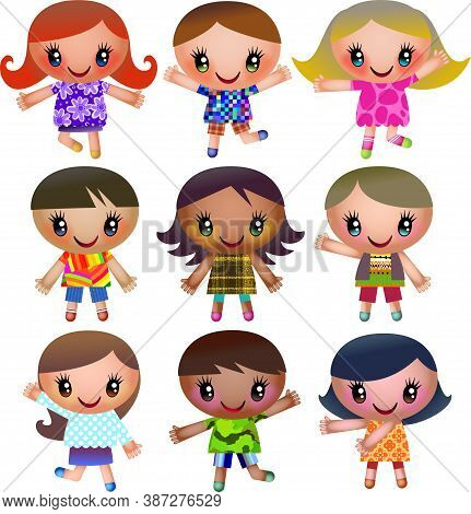 A Group Of Really Colorful Little Boys And Girls With Big Bright Eyes,